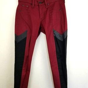 Rag & Bone fit INTERMIX Burgundy Colorblock Jeans